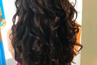 Back of head showing long, wavy hair